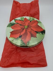 Vintage Poinsettia Tin And Handiwork With Hoop
