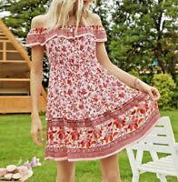 Sommer Kleid Tunika Hängerchen Volant Print Schulterfrei Gr. 36 38 Rosa R320 NEU