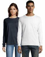 Hanes T Shirt Long Sleeve Adult Pocket Tee ComfortWash Garment Dyed Womens Mens