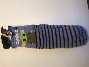 Slipper Sock Baby Yoda Sherpa Lined No-Slip Slipper Socks Size 9-11 Shoe NWT