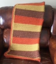 "Vtg Afghan Throw Blanket 29"" by 42"" Hand Made Crochet Brown Orange  Retro Motif"