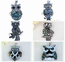 Lovely Owl Abalone Shell Pendant Tray Drop Jewelry Making DIY Findings Animal