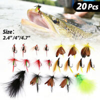 20Pcs Wet Dry Fly Fishing Lures Hook Flies Trout Tackle Tool Kit 2.4''/4''/4.7''
