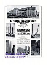 Baugeschäft Härtel Breslau XL Reklame 1924 Architekt Bindernagel Schornstein +