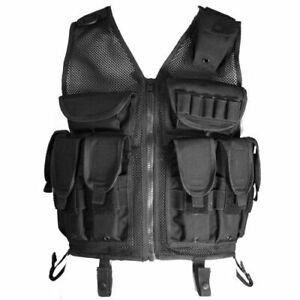 New Black Tactical Assault Vest, Police, Army, Airsoft, RAM Paintball