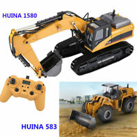 HUINA 1580 1:14 Alloy Bulldozer RC Car Excavator Engineering Truck Vehicle Gift