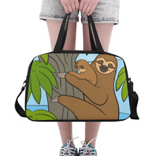 Fashion Lovely Overnight Bag Duffle Cute Sloth Family Weekender Travel Bag