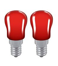 2x Red Light bulb Pygmy 15W SES E14 Small Edison Screw Cap Colour Sign Lamp