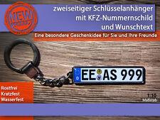 Zweiseitiger Schlüsselanhänger mit Wunschtext, Geschenkidee, KFZ, Kennzeichen