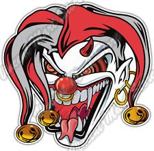 """Evil Jester Joker Clown Angry Face Fangs Car Bumper Vinyl Sticker Decal 4.6"""""""