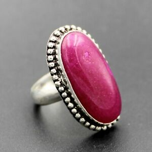 925 Silver Plated Red Ruby Handmade Ring Size 8 US Ethnic Jewelry RJ176-14