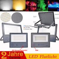 Ultradünnes 50W 100W 200W 300W LED Fluter SMD/Mit Bewegungsmelder Radarsensor DE