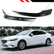 FOR 2016-17 MAZDA 6 GLOSSY BLK 2 PC STYLE ADD-ON FRONT BUMPER SIDE SPLITTERS LIP