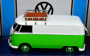 VW T1 Green-White Transporter With Roof Rack scale 1:24 From Motormax