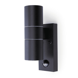 UP DOWN WALL LIGHTS WITH PIR SENSOR PORCH COPPER BLACK GREY STAINLESS STEEL