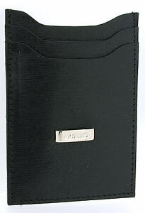 Artamis Business Smart Black Striped Leather Credit Card Holder / Money Clip