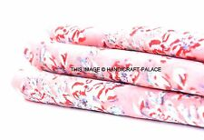 2.5 Yards Soft Cotton Indian Block Floral Print Cloth Fabric Natural Color Craft