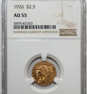 1926 $2.5 Dollar Gold Indian Head Quarter Eagle Coin NGC AU55