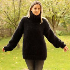 Designer Hand Knitted Mohair Sweater Fuzzy Black Pullover Jumper EXTRAVAGANTZA
