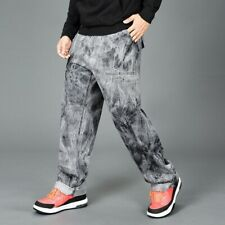 Mens Jeans Washed Denim Pants Trousers Tie Dye Straight Oversized Casual Fashion