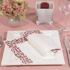 50 Airlaid Servietten Ornament  Hochzeit Kommunion Bordeaux weiß Stoffähnlich