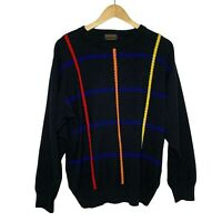 NAPOLEON Cable Knit Cross Sweater Neon Stripes Vintage Ugly Cosby Coogi Style