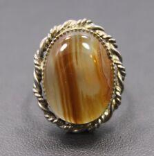 Adjustable Sterling Silver Translucent Milky Orange  Oval Agate Stone Ring