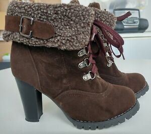 Unbranded brown suede high heel platform fold down lace up ankle boots UK 3