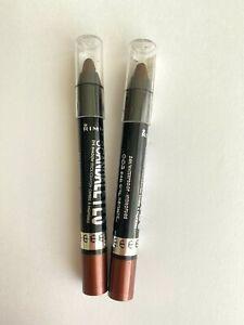 Lot Of 2 Rimmel Scandaleyes 24-Hr Eyeshadow 003 Bad Girl Bronze DAMAGED *READ*