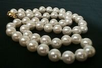 """STUNNING 18"""" Genuine Akoya Shell 8mm LILY WHITE Pearl Necklace Gold Safety Clasp"""