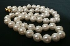 "STUNNING 18"" Genuine Akoya Shell 8mm LILY WHITE Pearl Necklace Gold Safety Clasp"