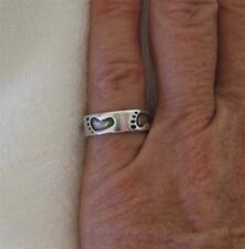 """Sterling Silver Footprint Design Band Ring~Handmade By """"(c)~WJ 97""""~Size 6~3.5g"""
