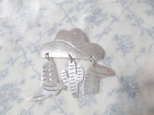 dangles Boot Cactus Horse Brooch pin Taxco Estate 80s Sterling Cowboy Hat charm