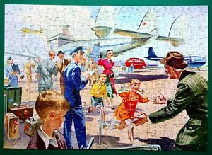"""1950s GOOD COMPANION JIGSAW PUZZLE """"AIRPORT ARRIVAL"""" COMPLETE & BOXED 400 PCES"""