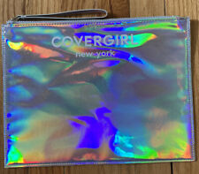 """NEW Covergirl New York Holographic MakeUp Travel Cosmetic Bag Pouch Zip HOLO 12"""""""