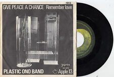 "PLASTIC ONO BAND GIVE PEACE A CHANCE LENNON RARE RECORD YUGOSLAVIA 7"" PS 45rpm"