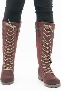 Rieker Z0442-36 Ladies Womens Winter Outdoor Warm Leather Tall Boots Red/Multi