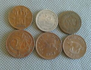 OLD COIN LOTS World/Foreign coins 6 COINS!! 1900s+ *COLLECTIBLES*