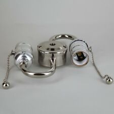 NICKEL ~ Double Socket S Shaped Pull Chain Lamp Socket CLUSTER ~ by PLD