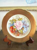 Aynsley England Handpainted Dessert Plate Roses Gold Signed J A Bailey 6.5""