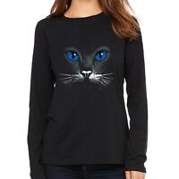 Velocitee Ladies Long Sleeve T-Shirt Blue Eyes Cat Face Feline Kitty A17601