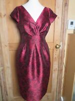 L K Bennett size 12 dress red brocade occasion dress vgc fitted cap sleeve rose
