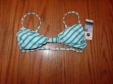 Nwt Womens Roxy Swimsuit Swimwear Turquoise White Striped Bikini Top Small S