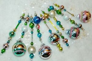 9 Vintage Mercury Glass Icicle Ornaments EASTER Christmas RADKO Czech Beads