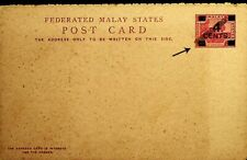 FEDERATED MALAY STATE UNIQUE ARCHIVAL PROOF DOUBLE CARD W/ COLONIAS OVPT