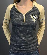 Pittsburgh Penguins Women's Pure Fury Gray V-Neck Long-Sleeve Shirt (S,M,L,Xl)