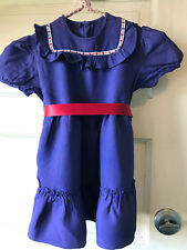 Vintage Baby Toddler Dress Purply Blue with Red White and Blue Trim