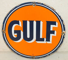 GULF OIL PORCELAIN ENAMEL SIGN GAS PUMP PLATE VINTAGE STYLE ADVERTISING