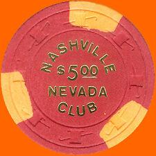 NASHVILLE NEVADA $5 1972 CASINO CHIP LAS VEGAS NV - FREE SHIPPING