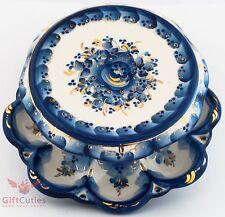 Porcelain Gzhel Egg Kulich Holder Plate Platter Easter Eggs & Bread Display
